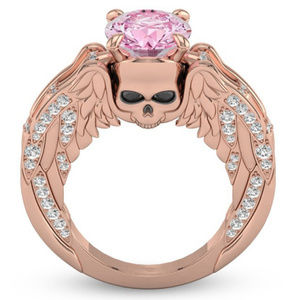 Jewelry - Rose Gold Filled Skull w Wings Ring